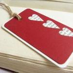 Hearts on Red gift tag bookmark