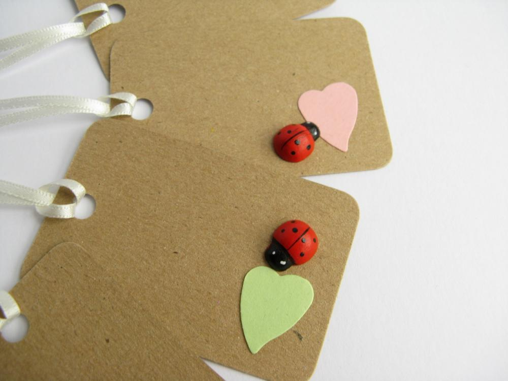 SALE Ladybird Pastel Heart small gift tags (set of 5)