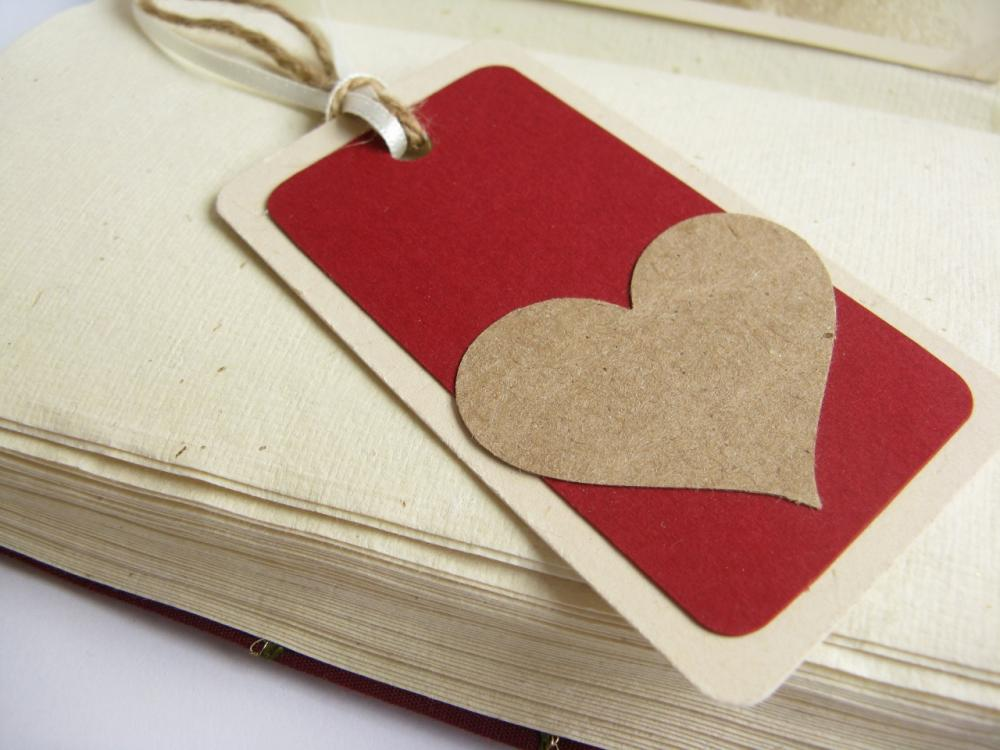Kraft on Red gift tag bookmark