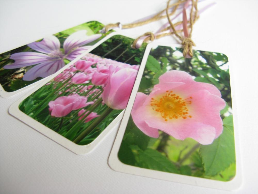 Pink Blooms No.1 gift tag bookmarks (set of 3)