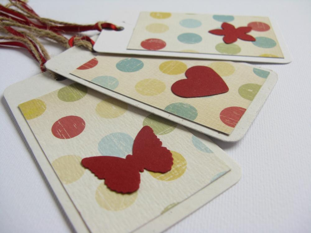 Red on Dots gift tag bookmarks (set of 3)