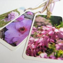 Pink Blooms No.2 Flower gift tag bookmarks (set of 3)