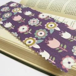 Retro Flowers on Purple fabric bookmark