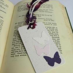 Butterflies on Natural gift tag bookmark